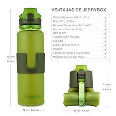 Jerrybox Botella de Agua Reutilizable, libre de BPA, 650ml, Verde, Flexible y Plegable | Bidón para Ciclismo-bicicleta-bici sin BPA, Cantimplora de Silicona para Deportes, Portátil y Rellenable: Amazon.es: Deportes y aire libre