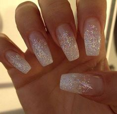 70 top bridal nails art designs for next year glitter wedding nails, white sparkle nails White Glitter Nails, Metallic Nails, Cute Acrylic Nails, Cute Nails, My Nails, Glitter Wedding Nails, Sparkly Nails, Sparkle Acrylic Nails, Wedding Acrylic Nails