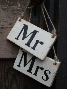 Mr. and Mrs. wood signs