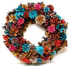 Handmade Spring/Summer Pine Cone Wreath Center Piece 14 by EacArt