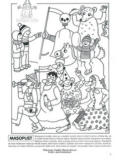 Masopust Aa School, School Clubs, Diy For Kids, Crafts For Kids, Free Coloring Pages, Vintage Pictures, Art Education, Kids And Parenting, Paper Art