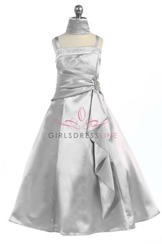 Silver Brilliant Satin Rufflel Detail A-line Flower Girl Dress with Sparkles L4305-SV $49.95 on www.GirlsDressLine.Com