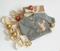 Christmas deer sweater knit baby jacket with buck grey wool