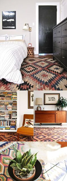 Geometric is a type of design which uses different patterns of shapes or curves. The rug in this room gives the room a very geometric feel because of its triangular shaped pattern.