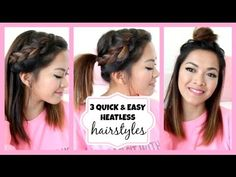 Running Late!! 3 Quick & Easy Hairstyles for Short/Medium Length Hair! ♡ ThatsHeart - YouTube