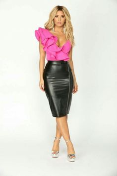 Available In FuchsiaOne shoulder RuffleAdjustable StrapsSnap ClosureSelf Polyester Spandex Lining Polyester Black Leather Skirts, Leather Dresses, Leather Outfits, Hot Outfits, Skirt Outfits, Hot Pants, Sexy Skirt, Dress Skirt, Pvc Skirt