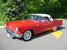 1957 Red w White Porthole Top T Bird