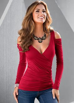 DRAPED SLEEVE TOP, JEWELED STATEMENT NECKLACE