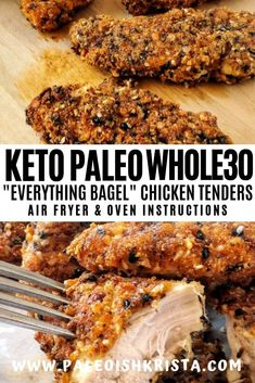 Crisped to perfection in an air fryer or oven, these everything bagel seasoned gluten-free chicken tenders are the perfect comforting finger food! Chicken Tenders Healthy, Air Fryer Recipes Chicken Tenders, Breaded Chicken Tenders, Chicken Tender Recipes, Chicken Tenderloins In Oven, Breading For Chicken, Chicken Tenderloin Recipes Healthy, Paleo Recipes, Low Carb Recipes
