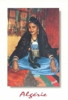 Africa | Tuareg woman from Algeria | Scanned postcard image.