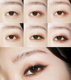 Korean Makeup Tips, Korean Makeup Tutorials, Beauty Makeup Tips, Makeup Inspo, Makeup Inspiration, Beauty Products, Cute Eye Makeup, Monolid Makeup, Asian Eye Makeup