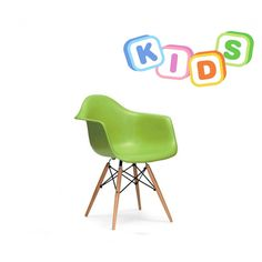 Childrens Charles Ray Eames Style DAW Arm Chair - Green