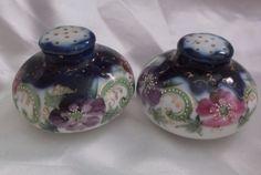 "Antique Porcelain Salt & Pepper Shakers Hand Painted Roses Cobalt Gold 2.25"" #Victorian see Ebay item 361643096242"