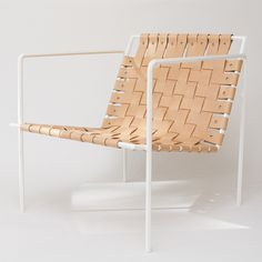 White powdercoat, vegetable oil tanned leather - woven leather chair
