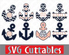 Anchor Monogram Frame, svg, eps, dxf, digital cut file, vector design, digital download by SVGCUTTABLES on Etsy