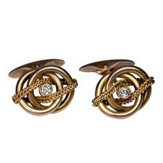 Antique Russian Diamond Gold Cufflinks