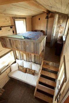 Master Bedroom and Living Room. Sustainable Architecture with a Tiny House on Wheels. By SimBLISSity.