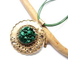 Green Balance pendant - Goldie Bronze Clay, malachite