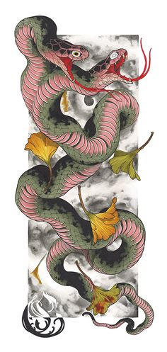 I totally have an appreciation for the pigments, lines, and fine detail. This really is an incredible artwork if you are looking for a Japanese Snake Tattoo, Japanese Tattoo Designs, Japanese Sleeve Tattoos, Dragon Tattoo Designs, Tattoo Sleeve Designs, Traditional Japanese Dragon, Neo Traditional, Body Art Tattoos, Tattoo Drawings