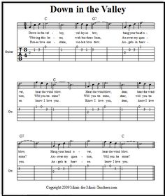Down in the Valley easy guitar tabs, FREE!  This beginner guitar song is great for learning beginning finger-picking.
