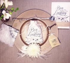 """Personalized wedding favour/gift bags with custom text - hand sewn - hand illustrated floral - design featured 5"""" x  6.5"""" - min order 20+"""