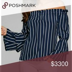 Navy/White Striped Off-the-Shoulder Top Cute navy blue Sox white striped OTS top with layered bell sleeves. So cute! NOTE: Item tends to run small. Please see measurements below for most accurate fit. Add to bundle to save!   Medium - Bust: 35.43, Length: 19.68 inches   Large - Bust: 37.01, Length: 20.08 inches  XLarge - Bust: 38.58, Length: 20.47 inches Tops
