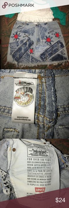 Ed Hardy/Levi's denim mini skirt 32 This is a denim blue jean mini skirt. I believe it's Ed Hardy as well as Levi's. the pocket says Levi's. ed Hardy tags and label. It is in new condition. Waist is 32. Levi's Skirts Mini