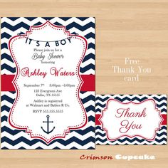 Printable Chevron Red Navy Nautical Baby Shower Invitation Its a BOY Free Thank You Card