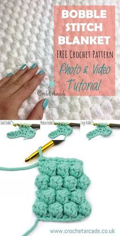 Crochet Afghan Patterns Bobble Stitch Blanket Crochet Pattern Free Photo and Video Tutorial with beautiful photos will show you exact step by step process to make this gorgeous blanket. Crochet Pattern Free, Bobble Crochet, Crochet Motifs, Crochet Flower Patterns, Crochet Stitches Patterns, Baby Blanket Crochet, Easy Crochet, Knitting Patterns, Crochet Flowers