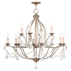 Livex Lighting Chesterfield Antique Gold Leaf Chandelier 6438-48