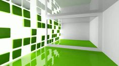 Empty white and green modern room interior with decorated motion light wall - HD stock footage clip Interior Design Courses Online, Home Interior Design, Light Cinema, Wall Hd, Dwell On Design, Waterfall House, Architecture Background, Empty Room, Decorating Blogs