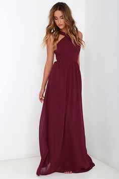 Air of Romance Burgundy Maxi Dress is part of Dresses - The Air of Romance Burgundy Maxi Dress will have you feeling the love! A modified halter neckline and seamed bodice tops this elegant dress with a sweeping maxi skirt Short Beach Dresses, Sexy Dresses, Cute Dresses, Prom Dresses, Long Dresses, Dress Prom, Semi Formal Dresses Long, Bodycon Dress, Stylish Dresses