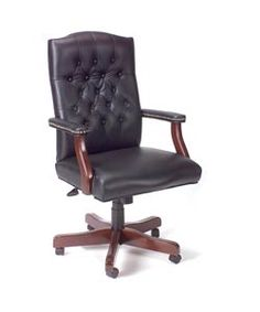 @Overstock - Update your office with a classic button-tufted chair  Executive chair is beautifully upholstered in black Caressoft vinyl  Swivel chair has elegant mahogany wood finish http://www.overstock.com/Office-Supplies/Boss-Traditional-High-back-Executive-Swivel-Chair/2201955/product.html?CID=214117 $143.15