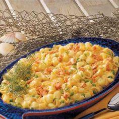 Salmon pasta... Subsitute Greek yogurt for mayo!