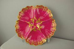 """T.V. France Limoges burgandy 5 well oyster plate with gold accent, 8"""""""