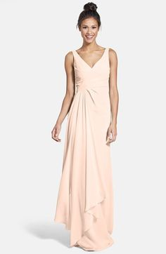 IN BLUSH. ML Monique Lhuillier Bridesmaids Sleeveless V-Neck Chiffon Gown (Nordstrom Exclusive) available at Mint Green Bridesmaid Dresses, Pink Bridesmaids, Bridesmaid Ideas, Monique Lhuillier Bridesmaids, Wedding Guest Gowns, Wedding Dresses, Wedding Suite, Green Gown, Formal Dresses For Women
