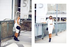 Love how great that boots works so well with a pencil skirt! street style, fashion, white, top - River Island, skirt - Zara, shoes - Zara, jacket - H&M, bag - River Island, swedish, girl, blog, blogger, cool, Angeliica Blick.