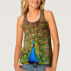 I Love My Peacock Tank Top - tap to personalize and get yours Blue Design, Peacocks, Tank Tops, My Love, T Shirt, Clothes, Collection, Women, Shoes