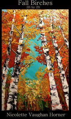 "Oil Landscape painting Abstract Original Modern 48"" palette knife Birch Trees oil  impasto oil painting by Nicolette Vaughan Horner $245"