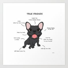 True Friends - Blue Frenchie Art Print by Ohosky - X-Small Cute French Bulldog, French Bulldog Puppies, French Bulldogs, French Bulldog Quotes, I Love Dogs, Puppy Love, Blue Frenchie, Canvas Prints, Art Prints