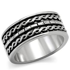 Make a bold statement with this beautiful two tone stainless steel ring. With intricately carved designs all along the band, this ring makes the perfect addition to your jewelry collection.Stainless steel jewelry is durable and does not tarnish. Pinky Rings For Women, Pandora Rose Gold Rings, Unique Mens Rings, Braided Ring, Wide Band Rings, Right Hand Rings, Engagement Ring Styles, Stainless Steel Rings, Antique Rings
