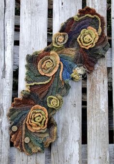 Floral crochet scarf.Unique Crochet scarf Freeform Crochet Scarf, Roses, Capelet, Neck Warmer Brown Orange blue Green, Chunky Knit Freeform Crochet.  One of a kind.  Color: shadows brown/green/orange blue  Size: One size fits all  irregular shape approx 33,46/8,66- 11,87 (85cm/22-30cm)