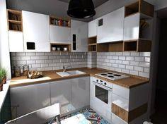 Cozy Small Kitchen by CK kwadrat 7 Kitchen Sets, Kitchen Cupboards, Kitchen Dining, Kitchen Decor, Murs Turquoise, Kitchen Island Cart, Little Kitchen, Kitchen Equipment, Cool Kitchens
