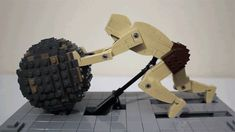 Inspired by a Disney Research project that automatically calculates all the gears and mechanical links needed to create realistic motion in an animated figure, Jason Allemann of JK Brickworks created this incredibly lifelike kinetic sculpture of the tragic Greek figure, Sisyphus, using Lego.