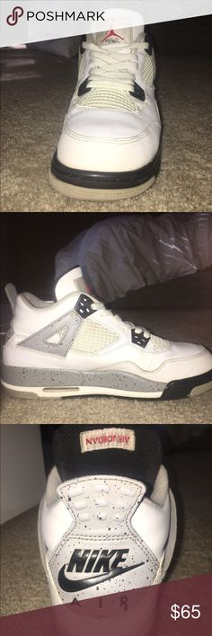 Nike air jordan's 4's (PRICE MAY VARY!!!) These shoes have a few scuffs but they clean up very nicely. before i ship them i will put brand new laces on. These are a 6.5 men which is an 8.5 women Jordan Shoes Sneakers