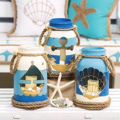 Bring the #beach home with #DIY nautical mason jars!