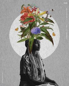 Crown in Bloom. Art via @aboutnatlife - Digital Print Textiles, Textile Prints, Digital Prints, Digital Art, Black Female Artists, African Origins, Modern Embroidery, Surface Pattern Design, New Artists
