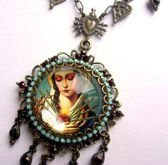 The Seven Sorrows Of Mary - Ornate Necklace in Bronze- Turquoise and Blood Red- One More via Etsy