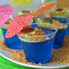 Blue Raspberry Jello Cups for Kids: Tropical Turtle Beach - Kenarry.com
