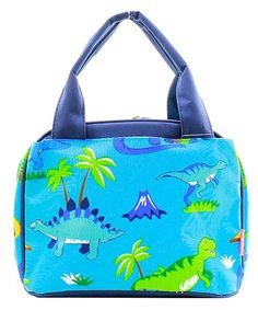 Monogrammed Lunch Bag Aqua Dinosaurs by DoubleBEmbroidery on Etsy